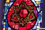 Detail of a stained glass window in a church in Tel Aviv, Israel